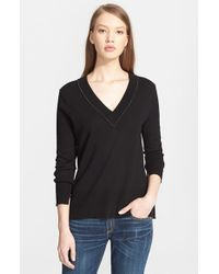 Rag & Bone | Black 'leanna' Merino Wool V-neck Sweater | Lyst