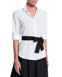 Brunello Cucinelli - White Poplin Shirt W/contrast Belt - Lyst