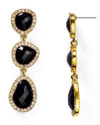 T Tahari | Black Pave Stone Drop Earrings | Lyst