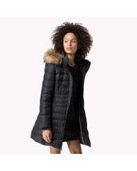 Tommy Hilfiger | Black Down Hooded Coat | Lyst