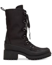 Lucky Brand - Black Women's Alascan Tall Lace-up Faux-fur Hiker Booties - Lyst