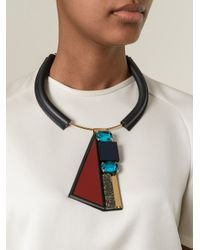 Marni - Black Contrasting Panel Necklace - Lyst