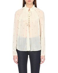Free People - Natural Ready To Run Chiffon Top - Lyst