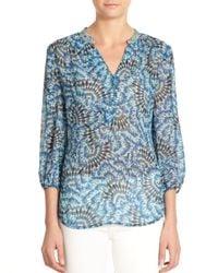 Robert Graham | Blue Florence Peacock-print Silk Blouse | Lyst