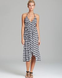 Pilyq - White Black Diamond-Print Rion Swim Cover Up Dress - Lyst