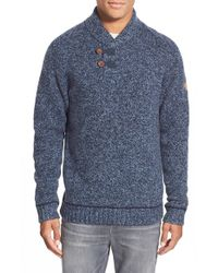 Fjallraven - Blue 'lada' Regular Fit Shawl Collar Sweater for Men - Lyst