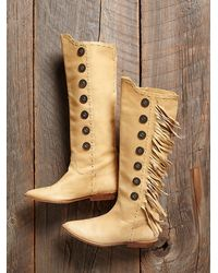 Free People - Brown Womens Vintage Tall Fringe Boots - Lyst