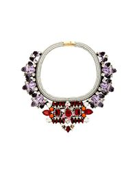 Shourouk | Purple Avalon Crystal and Sequin Bib Necklace | Lyst
