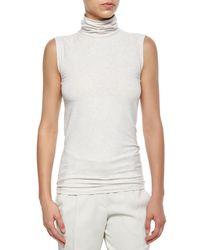 Brunello Cucinelli - Gray Sleeveless Melange Knit Turtleneck - Lyst