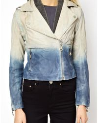 Doma Leather - Blue Arena Two Tone Leather Jacket - Lyst