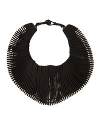 Donna Karan - Black Leather Bib Necklace with Spacers - Lyst