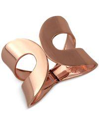 Guess | Pink Rose Gold-Tone Cutaway Open Hinge Bracelet | Lyst
