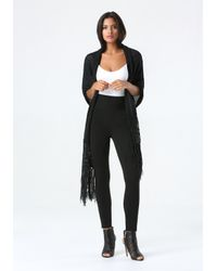 Bebe | Black Tape Yarn Fringe Wrap | Lyst