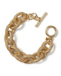 Banana Republic - Metallic Golden Pave Link Bracelet - Lyst