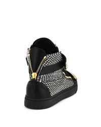 Giuseppe Zanotti - Black Snakeskin-embossed Leather High-top Sneakers for Men - Lyst