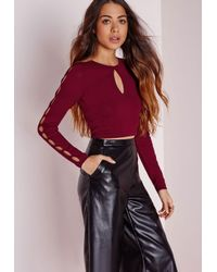 Missguided | Purple Key Hole Sleeve Crop Jumper Burgundy | Lyst