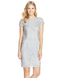 JS Collections | Metallic Short Sleeve Soutache Cocktail Dress | Lyst