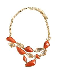 Kenneth Jay Lane | Orange Coral And Crystal Bib Necklace | Lyst