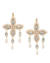 Carolee - Metallic Goldtone Crystal and Bead Navette Cluster Drop Earrings - Lyst