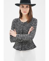 Forever 21 - Black Collarless Marled Peplum Jacket You've Been Added To The Waitlist - Lyst