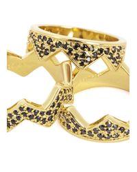 Eddie Borgo | Metallic Gold Plated Pavé Crystal Rings - Set Of Three | Lyst