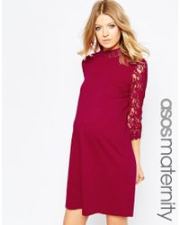 ASOS | Red Shift Dress With Lace Sleeves | Lyst