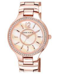 Anne Klein - Metallic Crystal Bezel Bracelet Watch - Lyst
