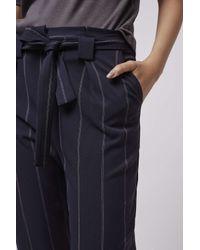 TOPSHOP - Blue Petite Pinstripe Paperbag Trousers - Lyst
