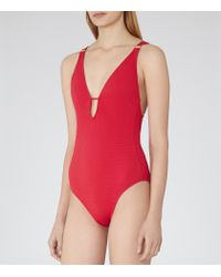 Reiss - Red Harlot Plunge-front Swimsuit - Lyst