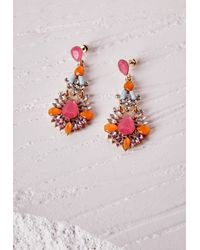 Missguided | Statement Gem Drop Earrings Neon Pink | Lyst