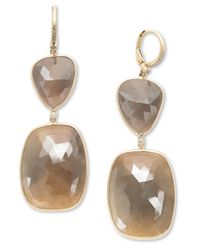 Macy's | Metallic 14k Gold Earrings, Sapphire (60 Ct. T.w.) And Diamond (1/10 Ct. T.w.) Free-flow Earrings | Lyst