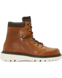 Moncler - Brown Lace-Up Burnished-Leather Boots for Men - Lyst