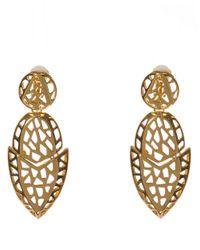 Kara Ross - Metallic Gold Tone Geometric Drop Earrings With Cutouts - Lyst