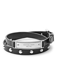 Michael Kors | Black Double-wrap Leather Bracelet | Lyst