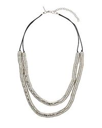 TOPSHOP - Metallic Silver Cap Necklace - Lyst