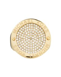 Michael Kors - Metallic Pave Etch Disc Ring - Lyst