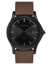 Emporio Armani | Brown Automatic Leather Strap Watch for Men | Lyst