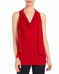 Ellen Tracy | Red Drape Neck Shell | Lyst
