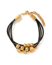 Alexander McQueen - Black Multi Skull Leather Bracelet - Lyst