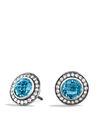 David Yurman - Cerise Mini Earrings With Blue Topaz And Diamonds - Lyst