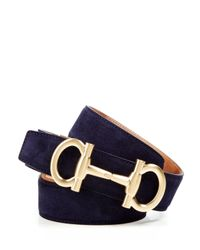 Ferragamo - Blue Suede Belt With Bit Buckle for Men - Lyst