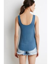 Forever 21   Blue Classic Pocket Tank   Lyst
