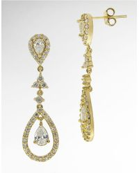 Lord & Taylor - Metallic Cubic Zirconia Teardrop Chandelier Earrings - Lyst