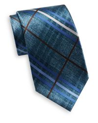 Burma Bibas | Blue Plaid Textured Silk Tie for Men | Lyst