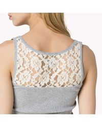 Tommy Hilfiger | Gray Lace Detail Tank Top | Lyst