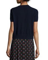 Christopher Kane - Blue Short-sleeve Jeweled-neck Sweater - Lyst