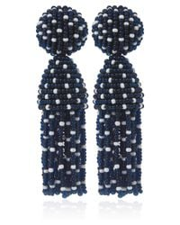 Oscar de la Renta | Blue Polka Dot Tassel Clipon Earrings | Lyst