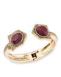 Lucky Brand - Metallic Gold-Tone And Semi-Precious Red Jade Cuff Bracelet - Lyst