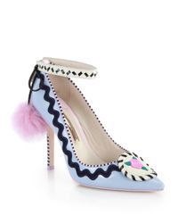 Sophia Webster - Blue Remmie Sky Patent Leather & Rabbit Fur Pumps - Lyst