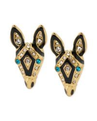 Betsey Johnson | Black Goldtone Crystal and Enamel Zebra Stud Earrings | Lyst
